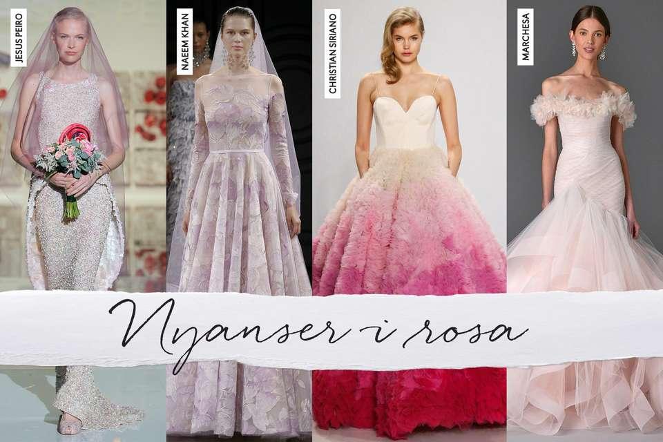 Nyanser i rosa inspirerte Brudekjoler