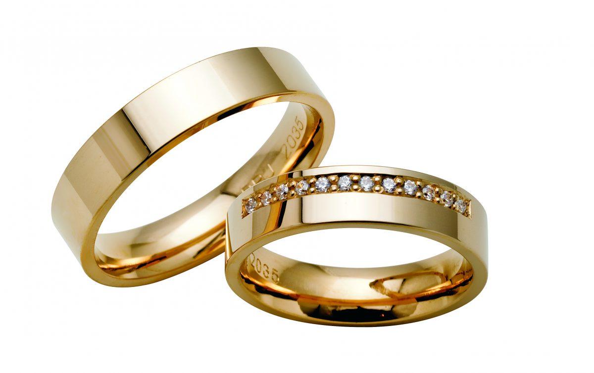 Nydelige giftering i rosegull med og uten diamanter fra Bjørklund