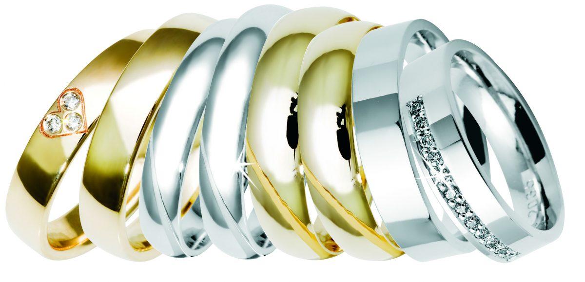 Nydelige gifteringer i gult gull, hvitt gull og rosé gull. Med og uten diamanter